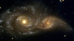 Two Merging Galaxies Caught by Hubble and Spitzer